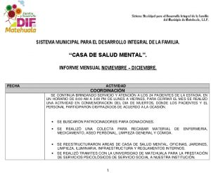 Actividades Casa De Salud Mental