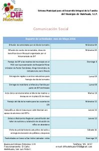 Actividades Comunicación Social