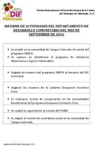 Actividades Desarrollo Comunitario
