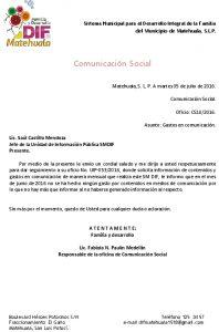 03 Contenido Y Gasto En Comunicación - Actualizado A Junio 2016