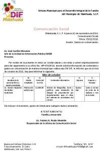 05 Contenido Y Gasto En Comunicación - Octubre 2016